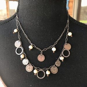 SILPADA  Pearls Copper Coin Charms necklace